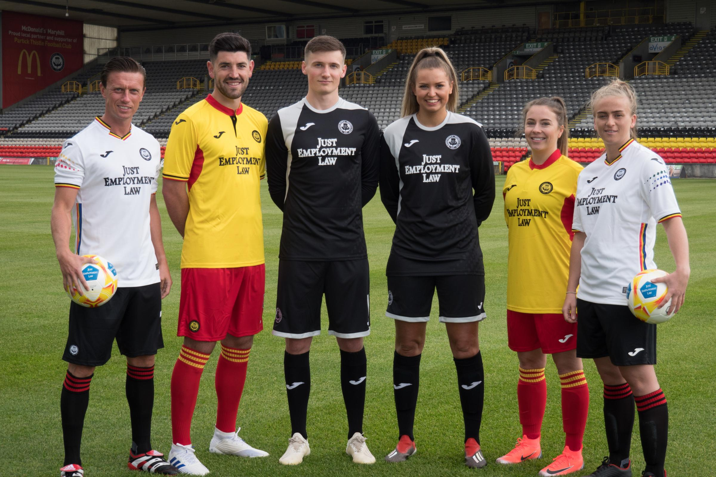 Tam O'Ware straining at the leash after being guided back by Partick Thistle captain Bannigan