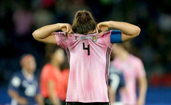 Scotland captain Rachel Corsie after the final whistle was blown PHOTO: PA