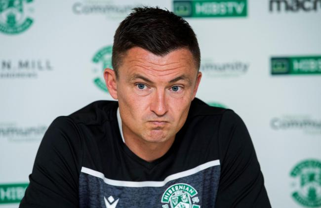 Hibernian manager Paul Heckingbottom speaks to the press.