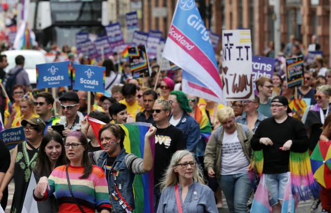 People take part in Pride Glasgow  Picture: David Cheskin/PA Wire