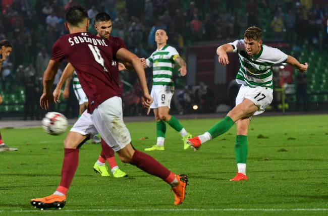 Ryan Christie shoots against Sarajevo