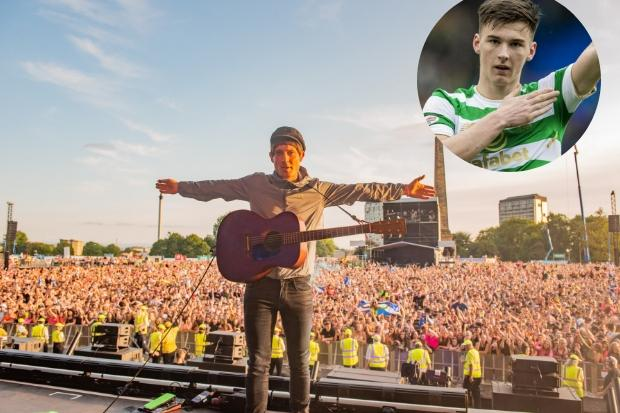 Celtic star Kieran Tierney pictured ahead of Gerry Cinnamon gig at TRNSMT