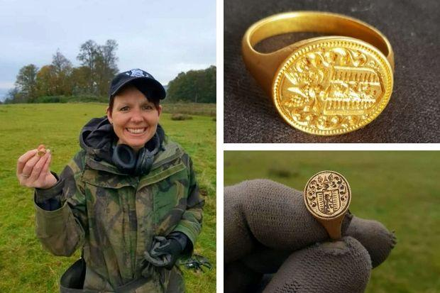 Metal detector enthusiast Michelle Vall, 51, with the 17th century gold ring she found at Duck Bay near Loch Lomond (SWNS)