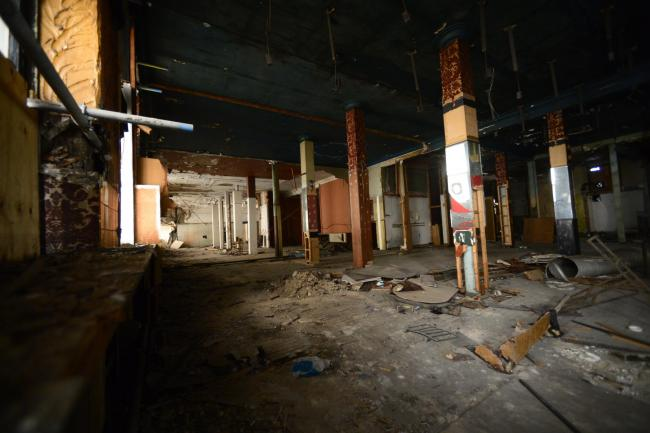 GLASGOW, SCOTLAND - JULY 18: a look inside the Alexander Greek Thomson listed building in Union street known as the Egyptian Halls on July 18, 2019 in Glasgow, Scotland. The halls are in a severe state of disrepair and the owners are currently in dispute