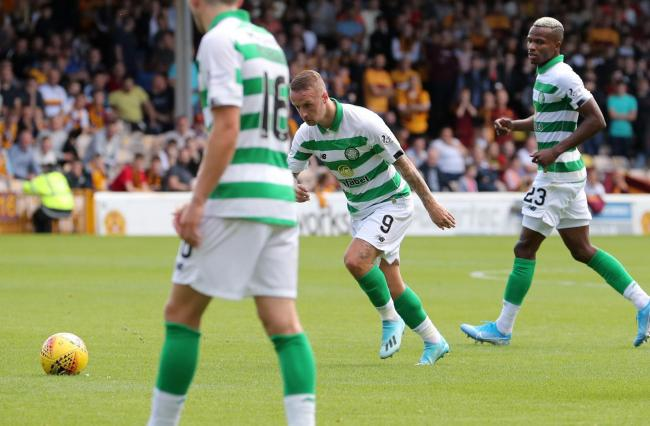 Celtic's Leigh Griffiths scoring his sides second goal during the Ladbrokes Scottish Premiership match at Fir Park Stadium, Motherwell. PRESS ASSOCIATION Photo. Picture date: Saturday August 10, 2019. See PA story SOCCER Motherwell. Photo credit shou