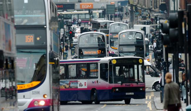 View showing buses queing in Hope street - the most polluted street in Scotland.