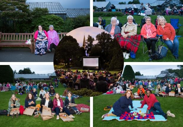 Pictures of movie fans at Botanics open air cinema