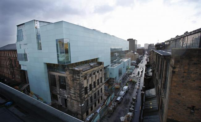 GV of  the new Glasgow School of Art Reid building. Photograph taken from the Bourdon building.. . Photograph by Colin Mearns.25 February 2014.