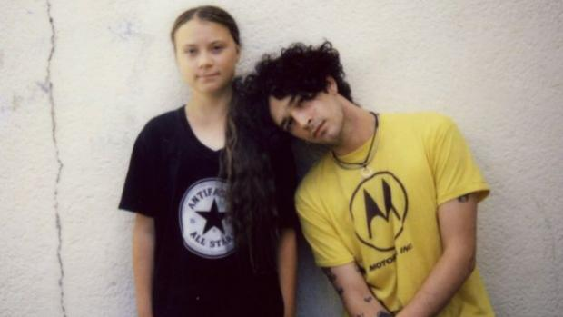 Evening Times: Matty Healy and Greta Thunberg. Image: POLYDOR