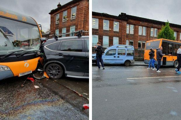 Bus crash on Moss Side Road close to Shawlands Academy Pic: