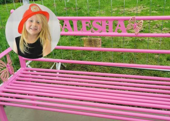 A tribute bench to Alesha MacPhail in Coatdyke Park