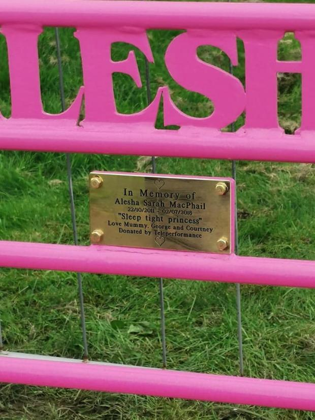 Evening Times: The bench has been put up in memory of Alesha MacPhail