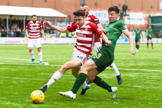 08/04/18 LADBROKES PREMIERSHIP. HAMILTON V CELTIC. THE SUPERSEAL STADIUM - HAMILTON. Hamilton's Darren Lyon (left) and Kieran Tierney in action..