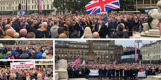 Orange Order slam 'disgraceful' march ban as thousands protest in George Square