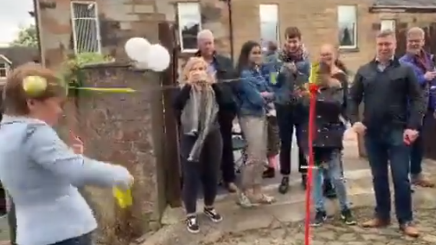 Nicola Sturgeon: First Minister hit on head by tennis ball during game of swingball