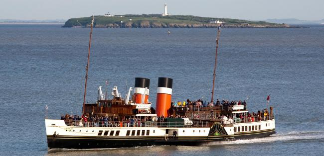 The Waverley passing Flat Holme Island