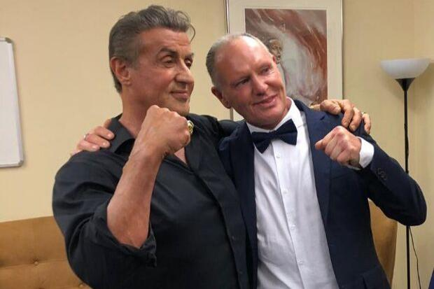 Rangers icon Paul Gascoigne poses with Hollywood superstar Sylvester Stallone