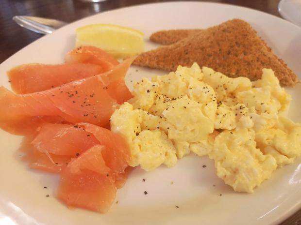 Evening Times: Smoked salmon and scrambled egg for breakfast at The Allan Ramsay Hotel, Penicuik