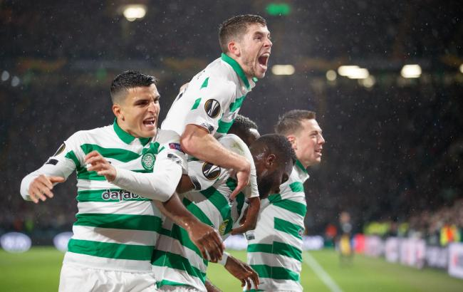Celtic players celebrate after Odsonne Edouard's opener against Cluj.