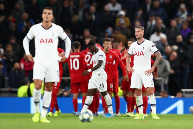 LONDON, ENGLAND - OCTOBER 01: Toby Alderweireld of Tottenham Hotspur looks dejected after Bayern Munich goal during the UEFA Champions League group B match between Tottenham Hotspur and Bayern Muenchen at Tottenham Hotspur Stadium on October 01, 2019 in L