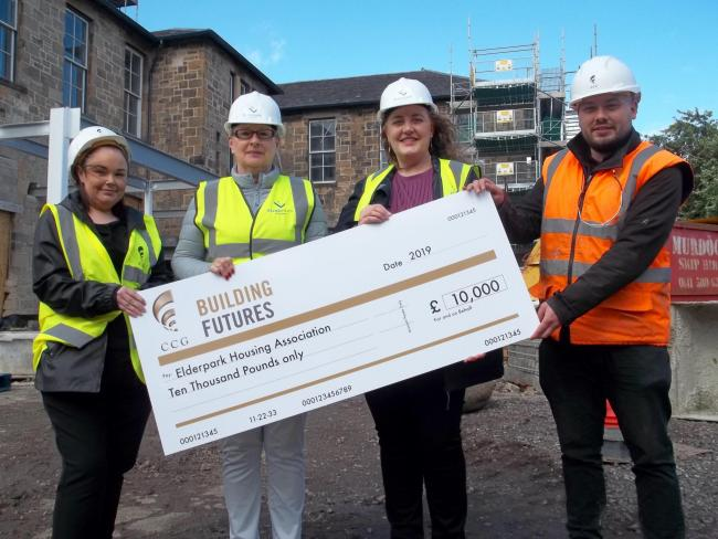 Elderpark takes delivery of the bumper cheque. Picture shows (left to right) Teresa Mullen, Community Benefit Co-ordinator at CCG, Shirley McKnight, Deputy Chief Executive of Elderpark Housing; Janet Evans, Chairperson of Elderpark Housing and CCG Site Ma