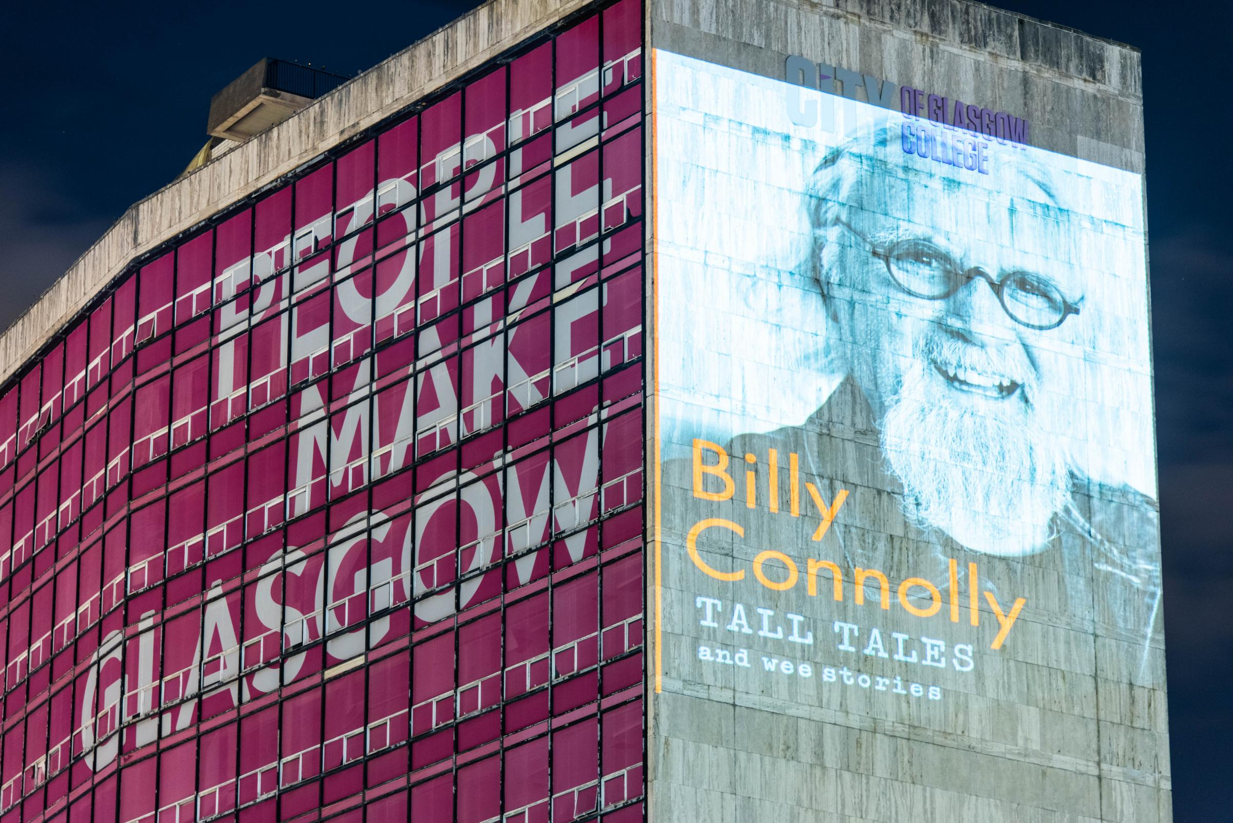 Billy Connolly lights up Glasgow for release of new book