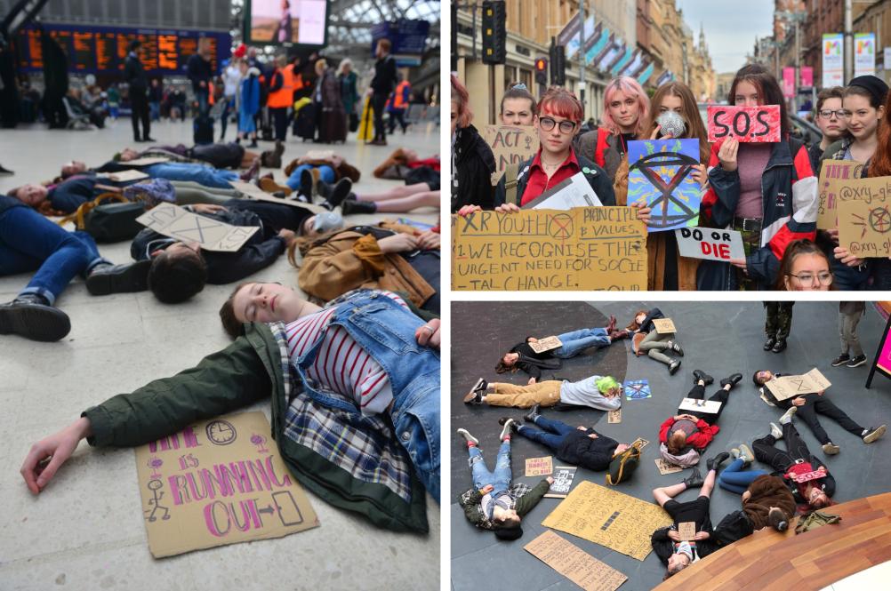 Extinction Rebellion activists hold 'die-in' protests in Glasgow