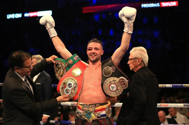 LONDON, ENGLAND - OCTOBER 26: Josh Taylor celebrates victory over Regis Prograis during the World Boxing Super Series Super-Lightweight Ali Trophy Final at The O2 Arena on October 26, 2019 in London, England. (Photo by Stephen Pond/Getty Images).