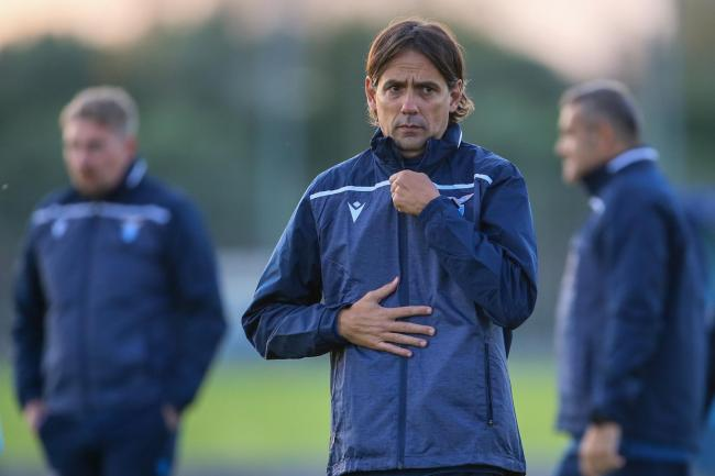 Lazio manager Simone Inzaghi takes a training session in Rome. Photo by Giampiero Sposito/Getty Images.