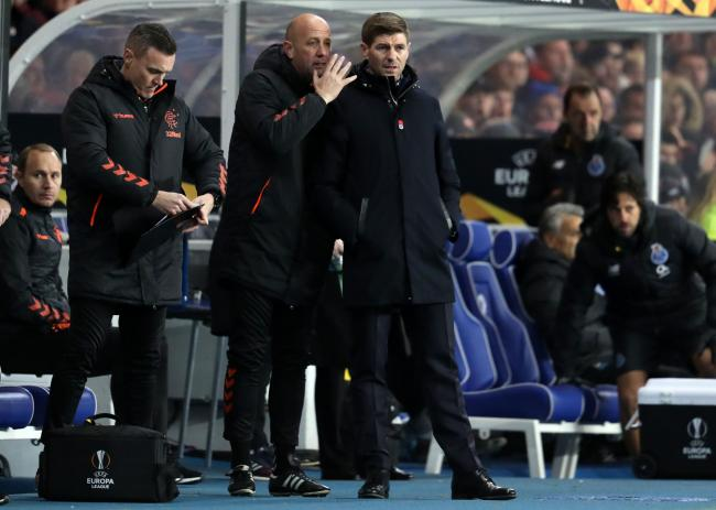 Rangers manager Steven Gerrard and assistant manager Gary McAllister during the UEFA Europa League match at Ibrox