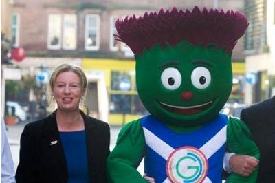 Shona Robison with Games mascot Clyde