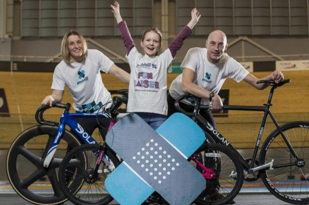 Commonwealth cycling silver medalist Jenny Davis and Jenny Cook with cycling legend Graeme Obree at  the Sir Chris Hoy Velodrome
