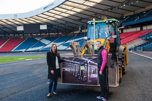 Eilidh Child (right) with Jessica Ennis at Hampden