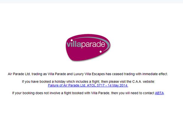 Air Parade website message.