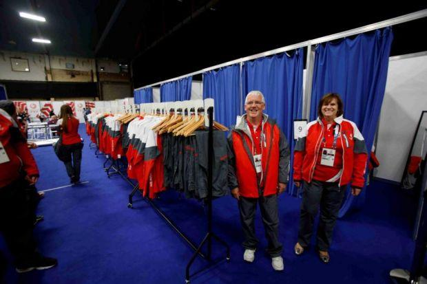 Jennifer Carroll Lynch and Rebecca Morton help out at the Uniform and Accreditation Centre at the Kelvin Hall, which will store uniforms and be used as a hub for collections