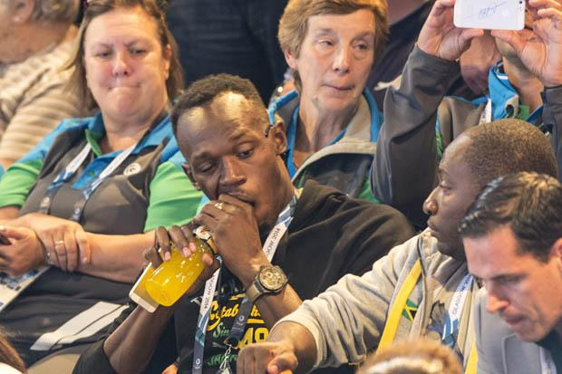 Usain Bolt is pictured at the netball.