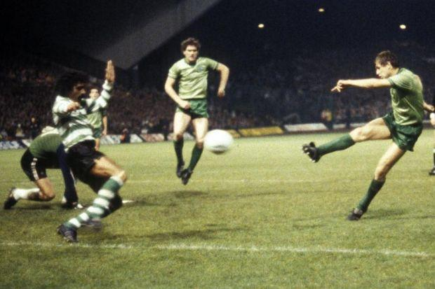 Celtic's Tom McAdam scores against Sporting Lisbon during their 5-0 Uefa Cup win at Parkhead in 1983