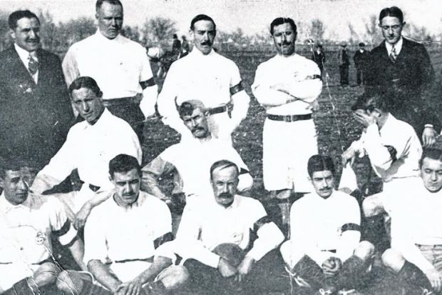 Spanish side Sevilla FC's players line up for a team picture on January 31, 1909. New evidence has now revealed that one of the founding members of the giant club was Glasgow man Hugh Maccoll