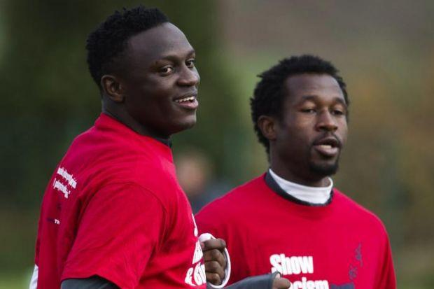 Victor Wanyama and Efe Ambrose training at Lennoxtown yesterday
