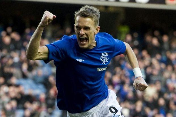 Dean Shiels celebrates after giving Rangers the lead against Alloa