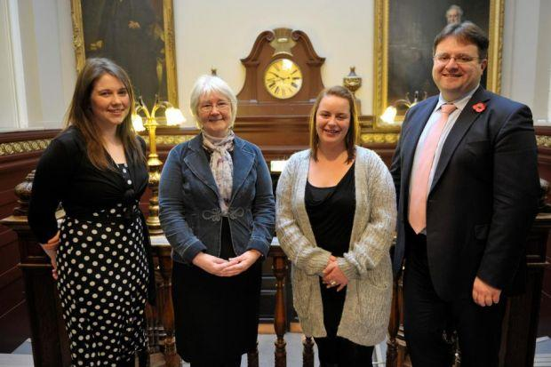 Minister for Children Aileen Campbell with Isabel Lawson, of the Early Years Early Action group, Lisa DeLacy and Councillor Stephen Curran