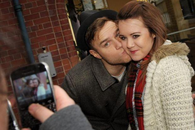 Olly Murs posed for photos with fans at Capital FM
