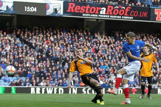 Dean Shiels scores the first of his two goals in Rangers' 7-0 win over Alloa