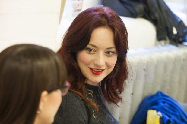 Sabrina in rehearsals for  One Man, Two Guvnors -- though her role is cloaked in secrecy