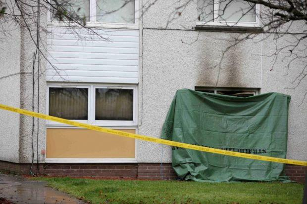 The scene of the fire today at flats in Glen Moy, St Leonards, East Kilbride  Picture Martin Shields