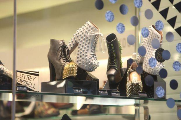 The shoes with metal spikes are on sale in Glasgow city centre
