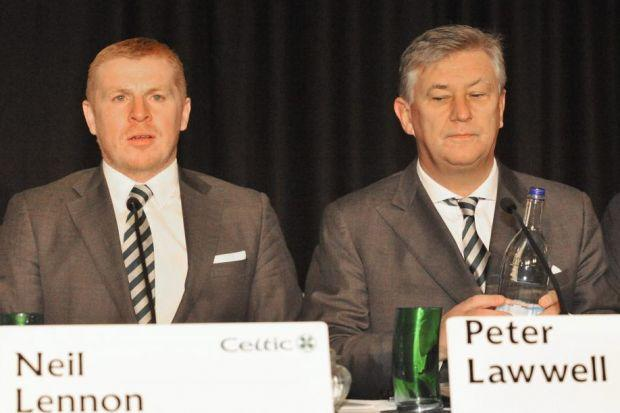 Neil Lennon and Peter Lawwell at Celtic's AGM. Picture: Jamie Simpson