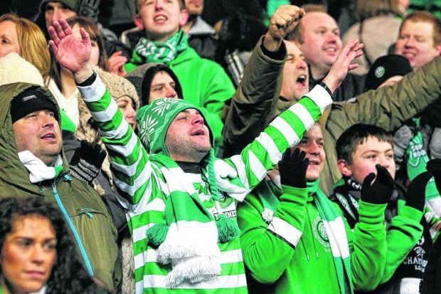 Celtic fans hail their team's performance after the 2-1 win