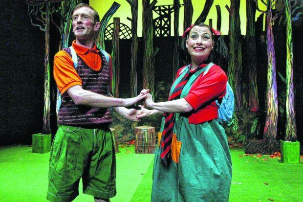 Mark Cox And Claire Knight are loving the children's reaction to their panto Weans In The Wood