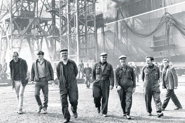 Men come off shift at Govan shipyard